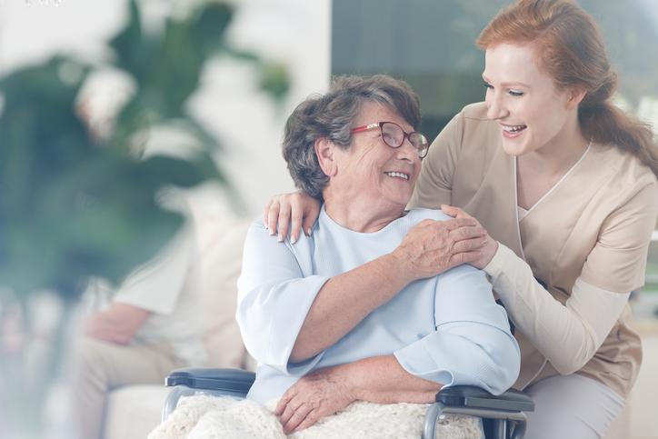 Home Health Caregiver with senior patient